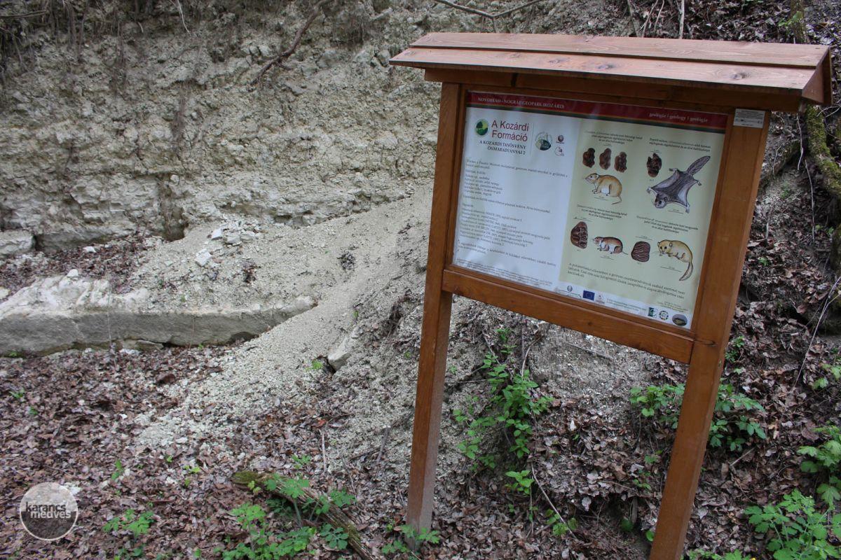 Információs tábla a Kozárdi Formációnál (karancs-medves.info fotó: Kéri István)
