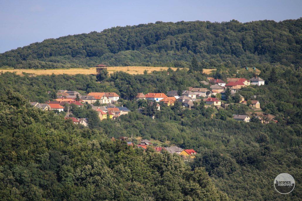 A Mogyorósi-kilátó Rónafalu házai felett (karancs-medves.info fotó: Kéri István)